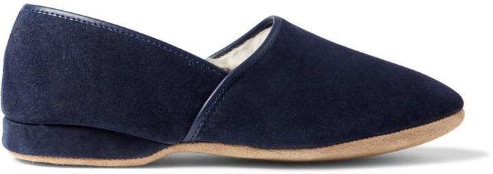 9a22f97eb116 Derek Rose Crawford Shearling Lined Suede Slippers