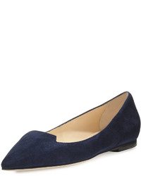 Jimmy Choo Attila Suede Pointed Toe Flat Navy