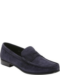 Prada Navy Suede Moc Toe Penny Loafers