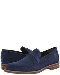 Calvin Klein Shoes Yurik High Suede Dark Blue Loafers Slip On F0632