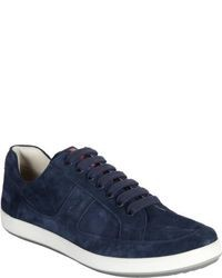 Navy Suede Low Top Sneakers