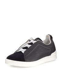 Ermenegildo Zegna Couture Triple Stitch Leather Suede Low Top Sneaker Navy