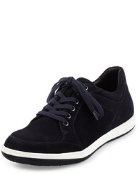 Giorgio Armani Mod Perforated Suede Low Top Sneaker Navy