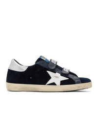 Golden Goose Navy And White Corduroy Old School Sneakers