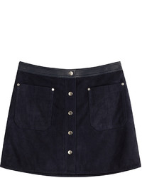 Navy Suede Mini Skirt
