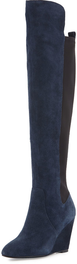 Charles by Charles David Edie Suede Wedge Over The Knee Boot Navy ...