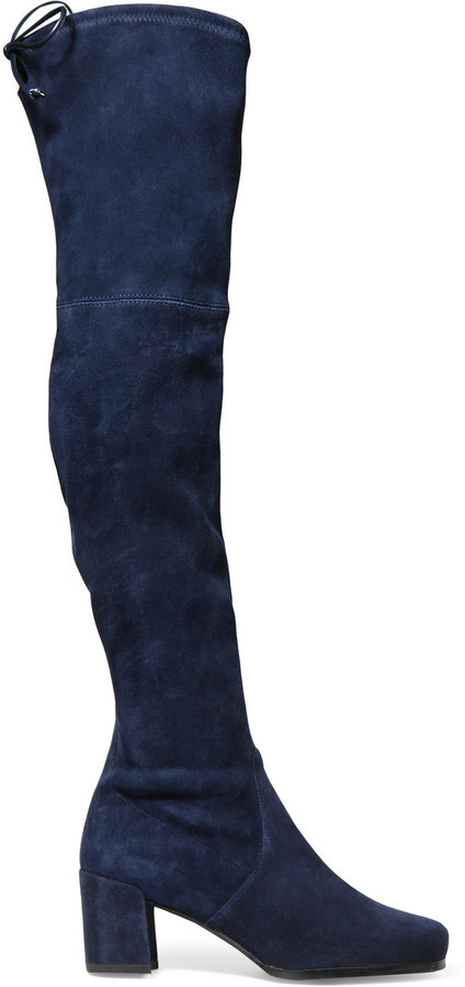 5a203669f68 ... Stuart Weitzman Hinterland Stretch Suede Over The Knee Boots Navy ...