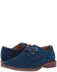 Navy Suede Oxford Shoes