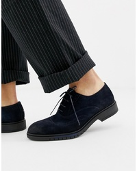 Tommy Hilfiger Flexible Dressy Brogue Suede Shoes In Navy