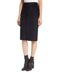 Brunello Cucinelli Suede Pencil Skirt Navy