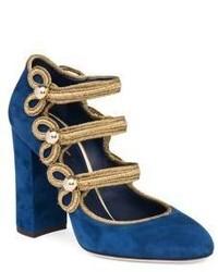 Dolce & Gabbana 3 Strap Military Suede Block Heel Pumps