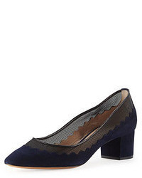 Chloé Chloe Suede Scalloped Mid Heel Pump Navy