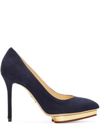 Charlotte Olympia Midnight Navy Suede Debbie Pumps