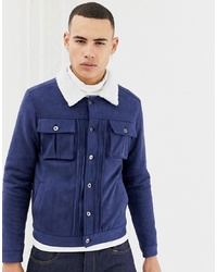 Navy Suede Shirt Jacket