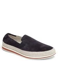 Navy Suede Slip-on Sneakers