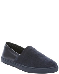 Kenneth Cole New York Navy Leather And Perforated Suede C The Light Slip On Sneakers