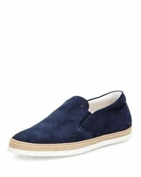 Suede espadrille slip on sneaker navy medium 925529