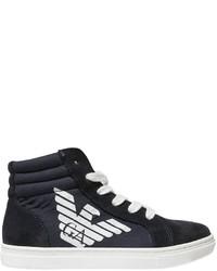 Armani Junior Cotton Canvas Suede High Top Sneakers