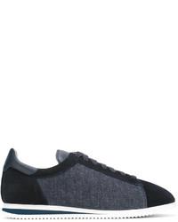 Brunello Cucinelli Denim Panel Lace Up Sneakers