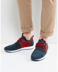 Hugo Boss Hugo By Neoprene Suede And Elastic Detail Sneakers Blue