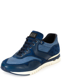 Stefano Ricci Python Leather Suede Sport Trainer Sneaker Blue