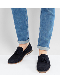 ASOS DESIGN Asos Wide Fit Tassel Loafers In Navy Suede With Fringe And Sole
