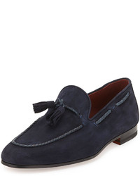 Suede tassel loafer navy medium 186099