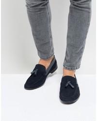 Silver Street Tassel Loafers In Navy Suede