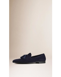 Burberry Whole Cut Suede Tassel Loafers