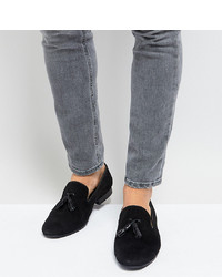 Silver Street Wide Fit Patent Tassel Loafers In Black Suede