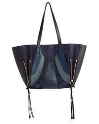 Chloe medium milo calfskin leather suede tote blue medium 3692053