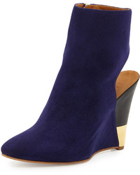 Chloé Chloe Open Back Wedge Bootie Storm Blue