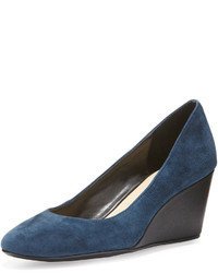 Taryn Rose Kathleen Suede Wedge Pump Navy