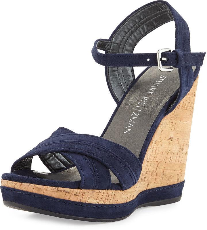 navy suede wedge sandals