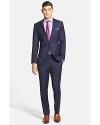 BOSS Hugegenius Trim Fit Navy Wool Suit