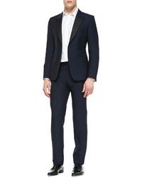 Alexander McQueen Contrast Faille Waistband Tuxedo Pants Navy
