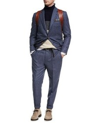 Brunello Cucinelli Donegal Wool Silk Two Piece Suit Blue