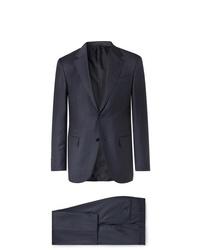 Ermenegildo Zegna Navy Easy Slim Fit Mlange Wool And Silk Blend Suit