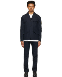 Stone Island Navy O Cotton R Nylon Tela Two Piece Suit