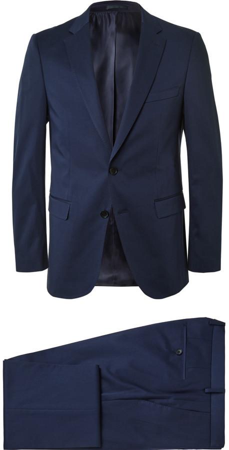 84370653 Hugo Boss Navy Slim Fit Stretch Cotton Suit, $795 | MR PORTER ...