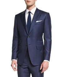 Tom Ford Oconnor Base Sharkskin Two Piece Suit Bright Navy