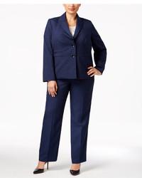 Le Suit Plus Size Melange Pantsuit