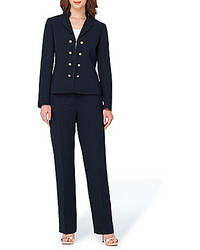 Tahari Asl Petite Crepe Double Breasted Military 2 Piece Pant Suit