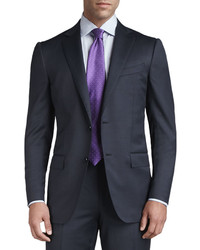 Ermenegildo Zegna Tic Woven Two Button Suit Navy