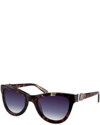 10 Crosby Derek Lam Ipanema Marbled Acetate Cat Eye Sunglasses Tortoise Blue