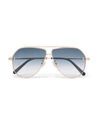 Stella McCartney Aviator Style Gold Tone Sunglasses