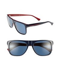 Emporio Armani 56mm Polarized Sunglasses Blue Red None