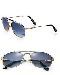 Tom Ford Eyewear Marlon Metal Aviator Sunglasses