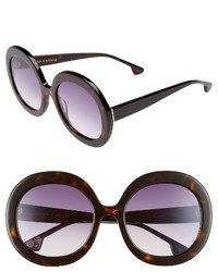 Alice + Olivia Melrose 56mm Round Sunglasses Black White