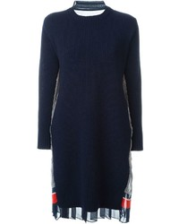 Sacai Pleated Back Sweater Dress